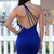 Blue One Shoulder Strappy Back Bodycon Party Dress
