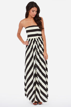 Dreamboat Come True Ivory and Black Striped Maxi Dress on Wanelo
