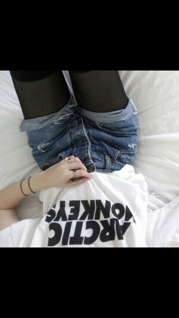 shorts band t-shirt t-shirt indie High waisted shorts artic monkeys shirt blue silver rings