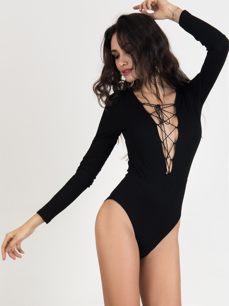 baba3ece8c9 Black Lace Up Front Long Sleeve Knitted Bodysuit – chiclookcloset