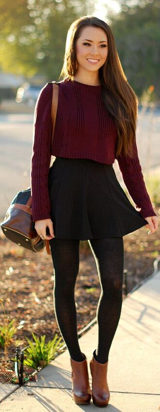 cable knit knitted sweater back to school black skirt skater skirt burgundy burgundy sweater brown leather boots brunette fall outfits high waisted skirt sweater red winter outfits style comfy cute tumblr shirt crop tops red sweater tights bag skirt shoes leggings black pantyhose boots brown crop top sweater dress cropped sweater maroon/burgundy jumper sixth form fall fashoin short skirt black