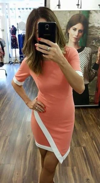 dress coral asymmetrical dress summer dress orange