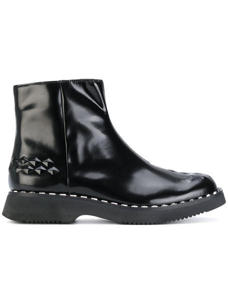 ASH women ankle boots leather black shoes