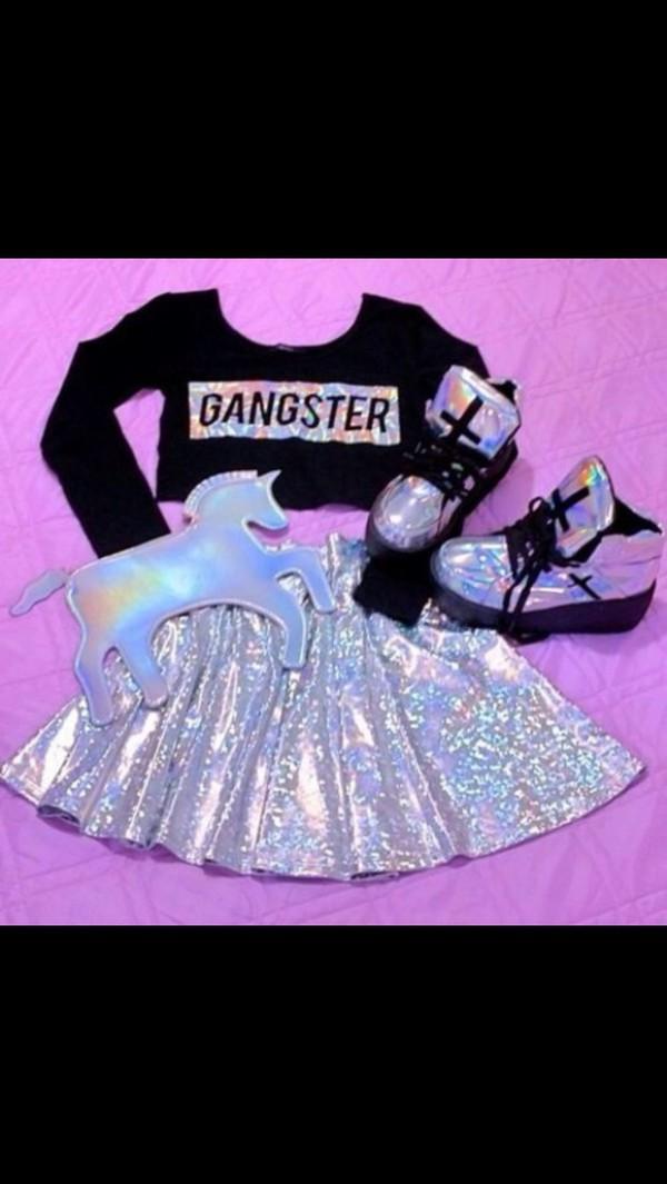 skirt holographic skater skirt shiny silver top