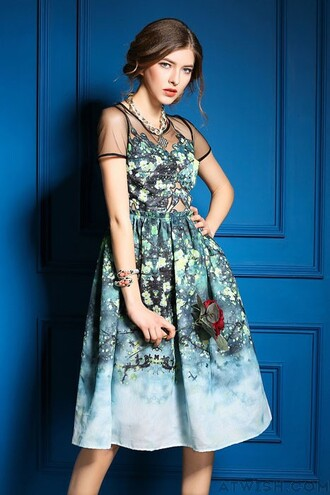 dress print watercolor splicing