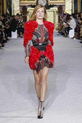 dress natalia vodianova mini dress ankle boots runway model balmain paris fashion week 2017 flowers floral mesh mesh dress