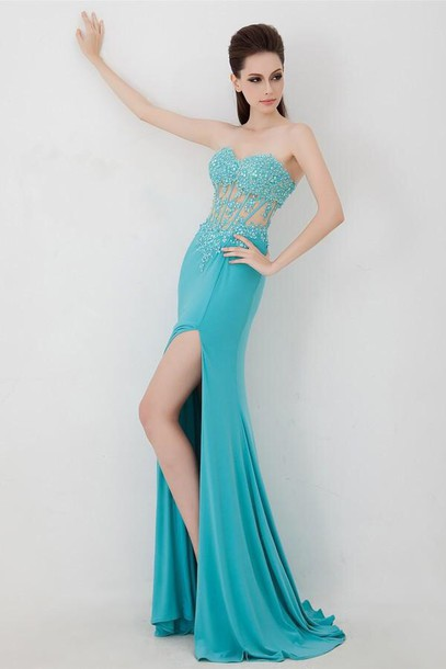 Long Teal Prom Dresses