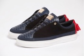shoes,fashion sneakers,leather,snake skin,blue,black suede,red heel,red leather tassels,mason garments,mens shoes,menswear
