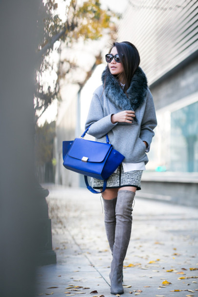 wendy's lookbook blogger sunglasses thigh high boots blue leather bag grey sweater winter outfits jacket suede boots blue bag sports sweater grey oversized sweater