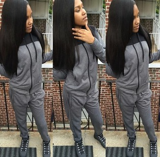 jumpsuit therealtaleah black x grey sweatsuit set new york broad cool weather cant stop her shine shes meek milly daughter fuckin up a check shoes