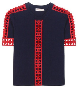 top knit lace cotton crochet blue