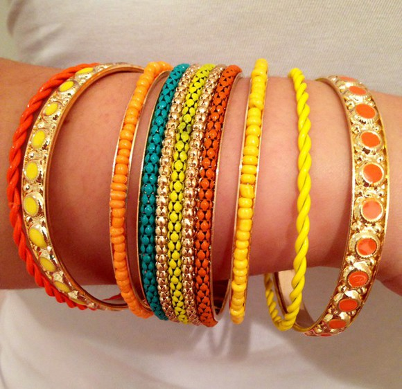 jewels jewel bangles bracelets orange yellow jewelry bracelets