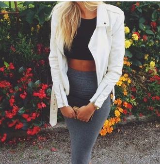 jacket jacket black and white skirt gray lace bodysuit crop tops girly fashion white