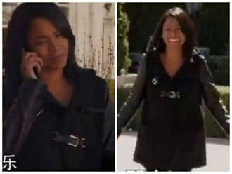 jacket nia long faux leather coat buckles best man holiday