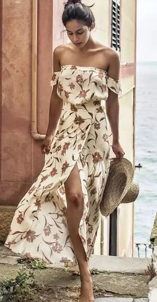 dress floral off the shoulder dress