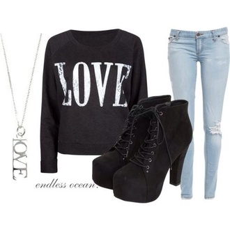 sweater love sweater black love sweater silver love necklace black covered high heels shoelaces light blue jeans shoes