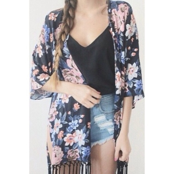 jacket kimono floral cardigan braid black shirt high waisted denim shorts silk kimono kimono jacket kimono skirt sweater shirt style fashion black and white boho coat flowers black hair accessory shorts blouse