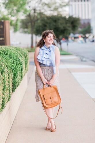 theadoredlife blogger skirt shirt shoes bag pumps blue top summer outfits