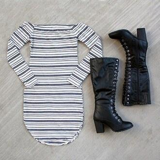 dress stripes off the shoulder off the shoulder dress curved hem boots lotd wiw wiwt ootd gojane