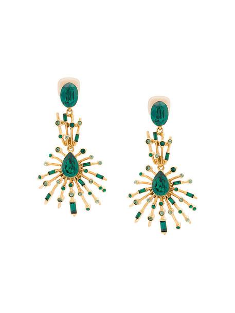 oscar de la renta women earrings pendant green jewels