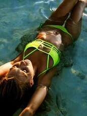 swimwear,neon,green,bikini,pool party,yellow,cut-out,water,summer,string,neon bikini,sexy bikini,lace,green swimwear,cute,pool,beach