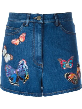 shorts denim shorts denim embroidered butterfly blue