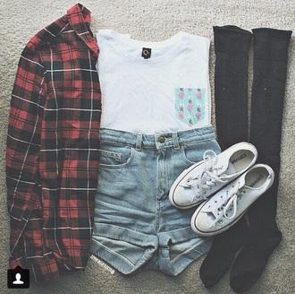 t-shirt pocket print pineapple print flannel plaid converse denim shorts shirt top socks jacket pocket t-shirt