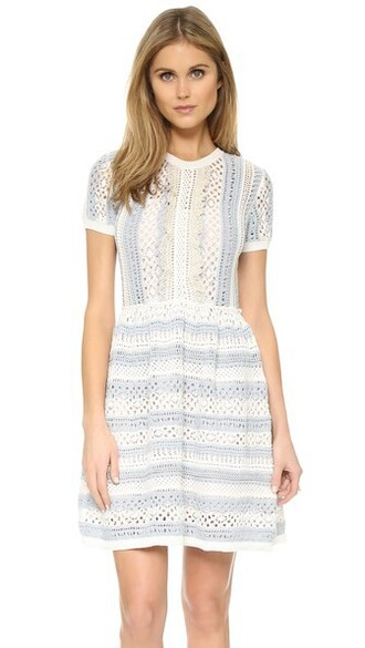 dress short sleeve dress knit short white blue