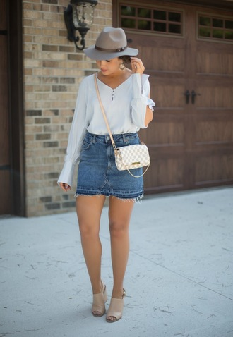 skirt denim skirt blouse hat crossbody bag louis vuitton ankle boots blogger blogger style