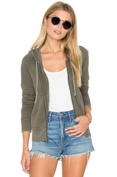 hoodie long zip classic green