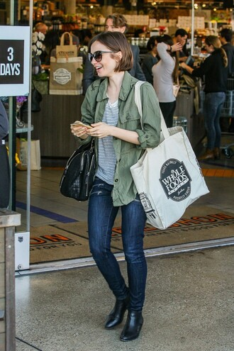 top stripes jacket lily collins denim jeans