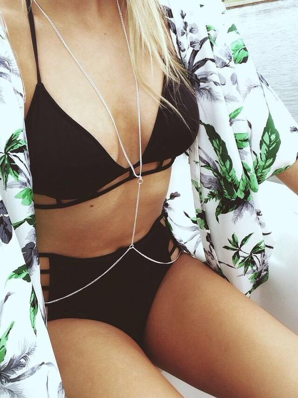 swimwear jewels noir trou summer ?t? cardigan body chain