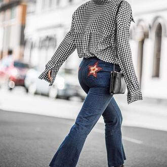 jeans tumblr tumblr outfit checkered black and white denim flare jeans blue jeans bag