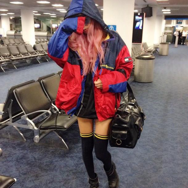 coat jacket vintage jacket knee high socks knee black socks tommy hilfiger jacket socks windbreaker