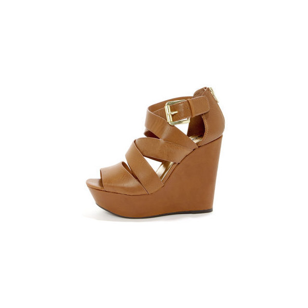Soda Hat Tan Strappy Platform Wedge Sandals $29 - Polyvore