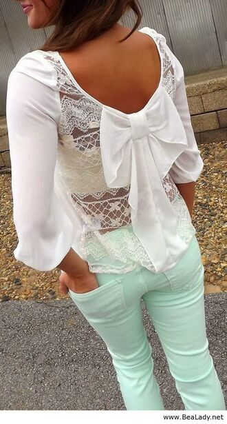 jeans mint bows trendy cute shirt spring outfits blouse big bow white