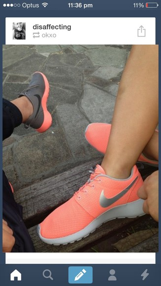 shoes sneakers nike nike roshe runs thea apricot glacier silver tick running shoes