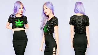 top black sequins weed top trendyish style mary jane 420 crop tops black crop top