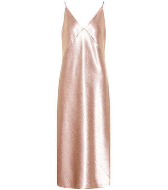Vince Metallic satin dress in pink