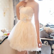 dress,white,sparkle,sparkly dress,strapless,cream,yellow,gold,waves,wavy,ruffle,layers,jewels,floral,flowers,belted,belt