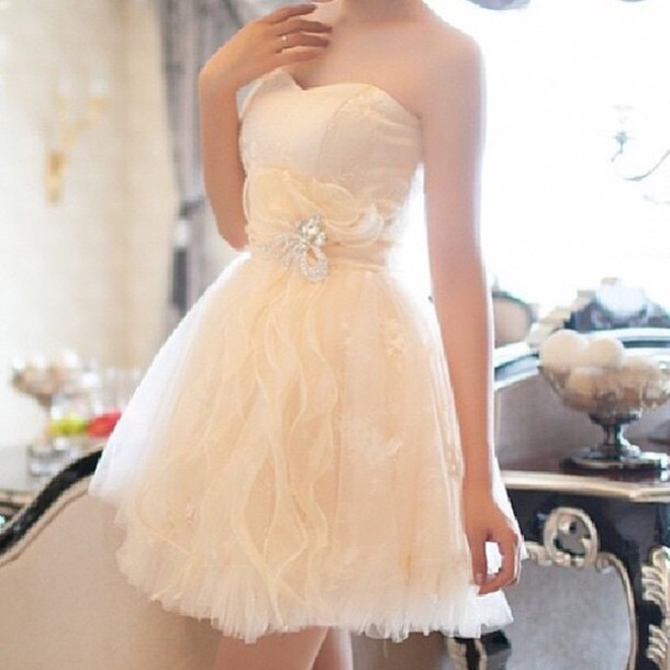 dress white sparkle sparkly dress strapless cream yellow gold waves wavy ruffle layers jewels floral flowers belted belt