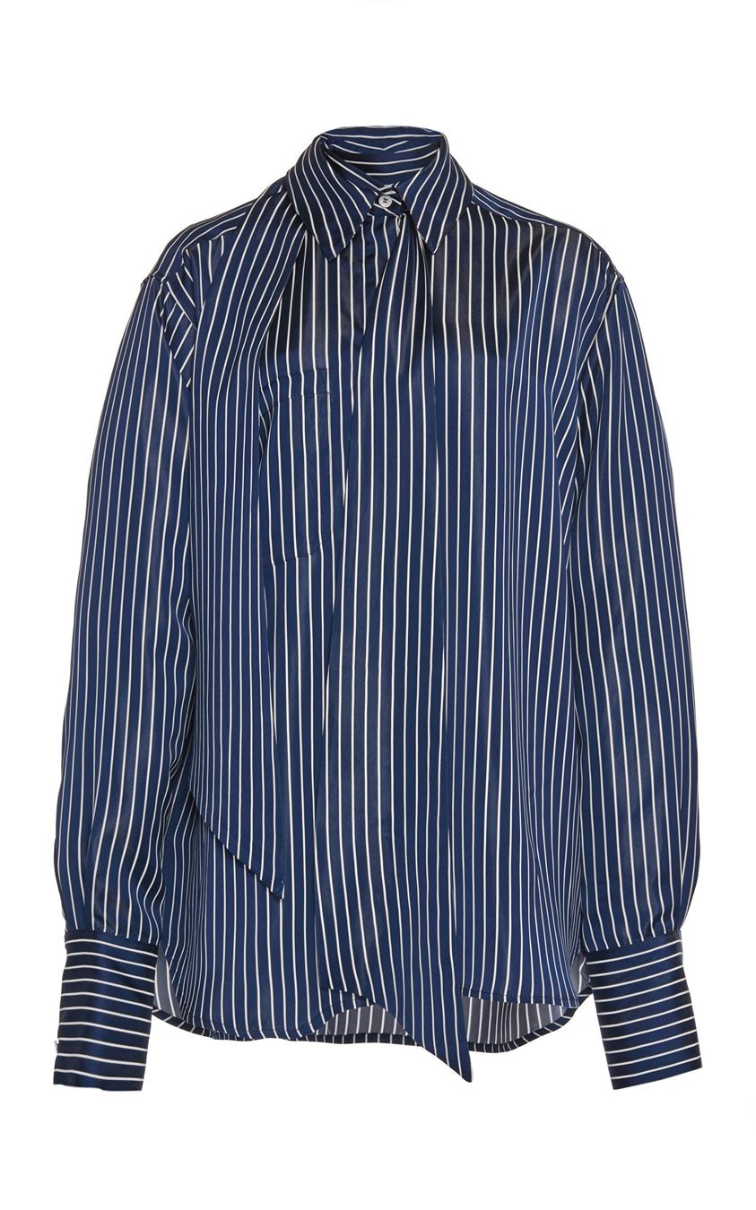 Rokh Striped Georgette Shirt Size: 42
