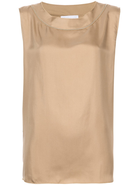 Fabiana Filippi blouse sleeveless women silk brown top