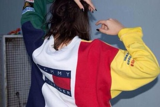 sweater tommy hilfiger tommytommy girl red yellow blue white sweatshirt crewneck tommy hilfiger sweater logo