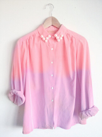 blouse ombre pink violet pearl cute girly pastel