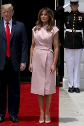 dress,pink,pastel pink,pastel,melania trump,first lady outfits,midi dress,wrap dress