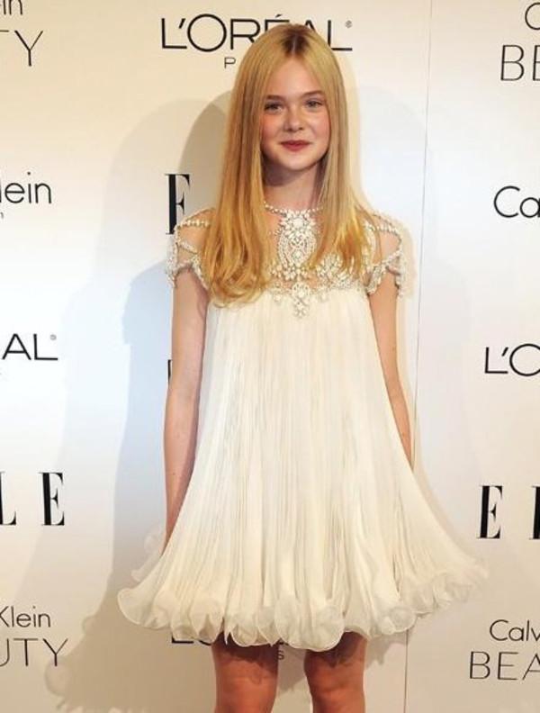 dress chiffon beaded swing dress mesh frilly tulled short party dress white ivory jewels marchesa
