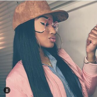 pink bomber jacket pink sunglasses suede cap cap denim shirt hoop earrings black girls killin it sunglasses hat