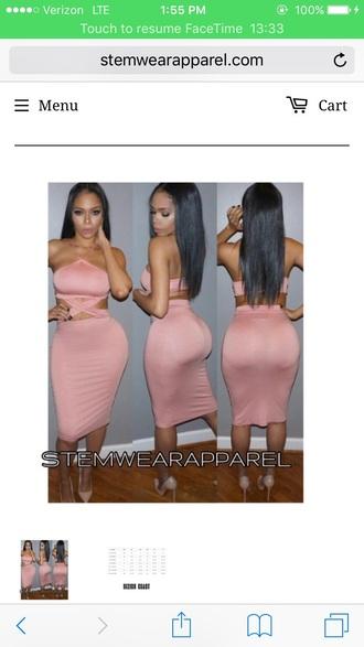 dress two-piece skirt pink pink dress