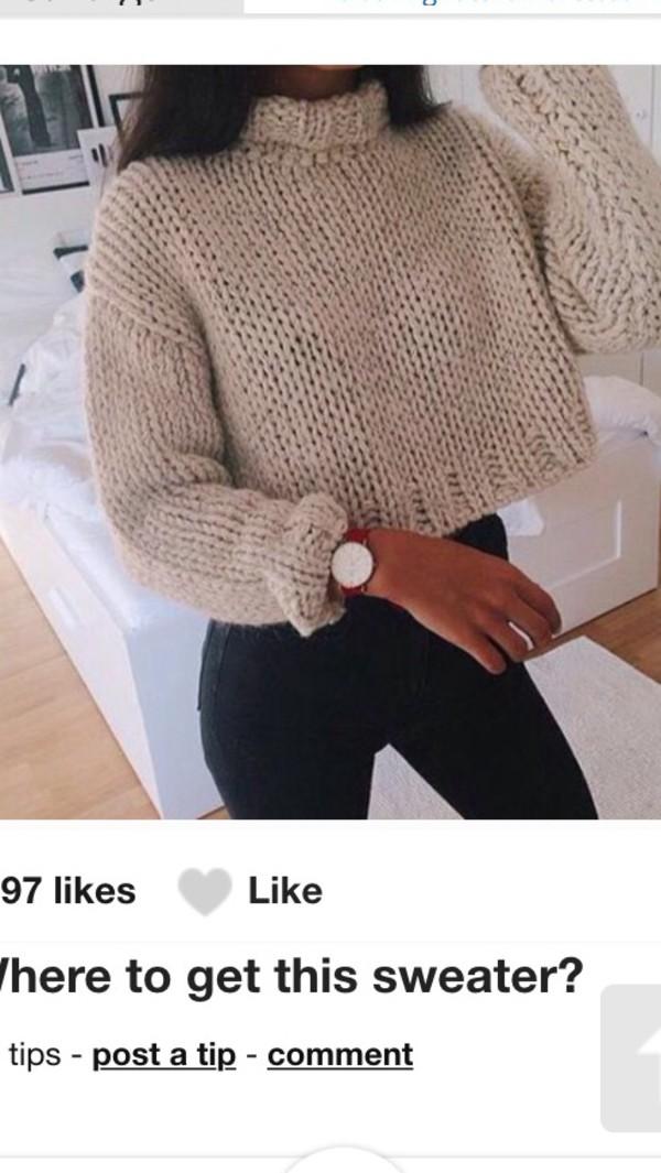 sweater white woolly crop sweater
